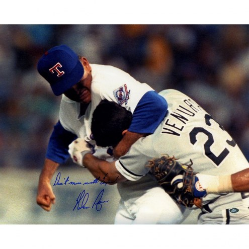 Texas Rangers Nolan Ryan Signed Robin Ventura Fight 16 x 20 Photo w/ Dont Mess With Texas