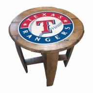 Texas Rangers Oak Barrel Table