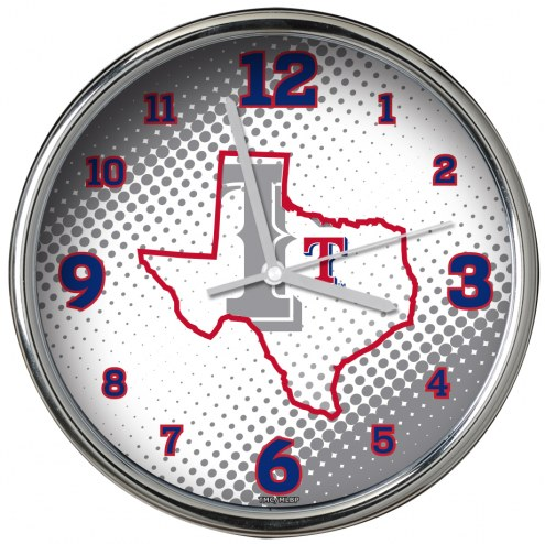 Texas Rangers State of Mind Chrome Clock