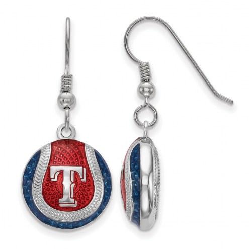 Texas Rangers Sterling Silver Baseball Earrings