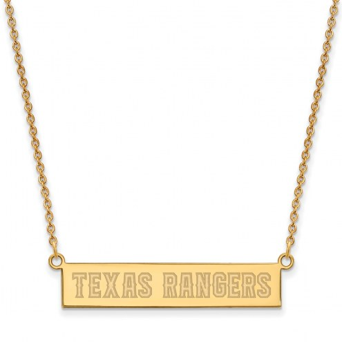 Texas Rangers Sterling Silver Gold Plated Bar Necklace