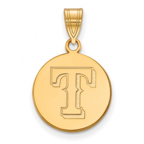 Texas Rangers Sterling Silver Gold Plated Medium Disc Pendant
