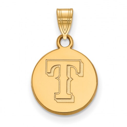 Texas Rangers Sterling Silver Gold Plated Small Disc Pendant