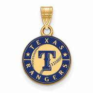 Texas Rangers Sterling Silver Gold Plated Small Enameled Pendant
