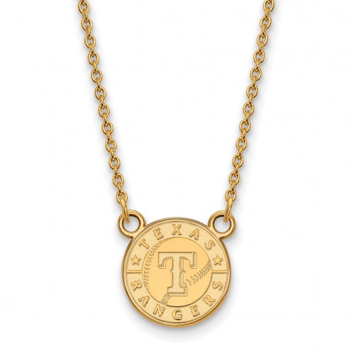 Texas Rangers Sterling Silver Gold Plated Small Pendant Necklace