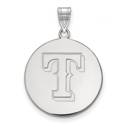 Texas Rangers Sterling Silver Large Disc Pendant