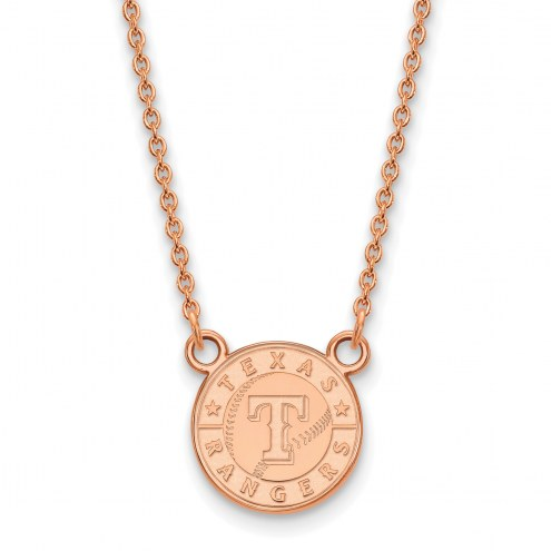 Texas Rangers Sterling Silver Rose Gold Plated Small Pendant Necklace