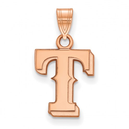 Texas Rangers Sterling Silver Rose Gold Plated Small Pendant