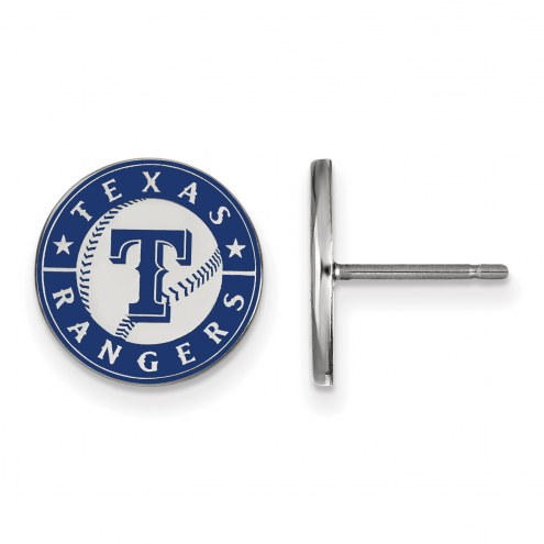 Texas Rangers Sterling Silver Small Enameled Disc Earrings
