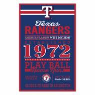 Texas Rangers Established Wood Sign