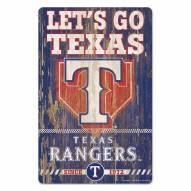 Texas Rangers Slogan Wood Sign