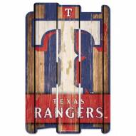 Texas Rangers Wood Fence Sign