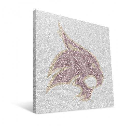 "Texas State Bobcats 16"" x 16"" Typo Canvas Print"