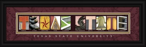 Texas State Bobcats Campus Letter Art