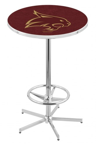 Texas State Bobcats Chrome Bar Table with Foot Ring