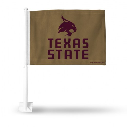 Texas State Bobcats Gold Car Flag