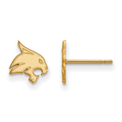 Texas State Bobcats Sterling Silver Gold Plated Extra Small Post Earrings