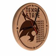 Texas State Bobcats Laser Engraved Wood Clock