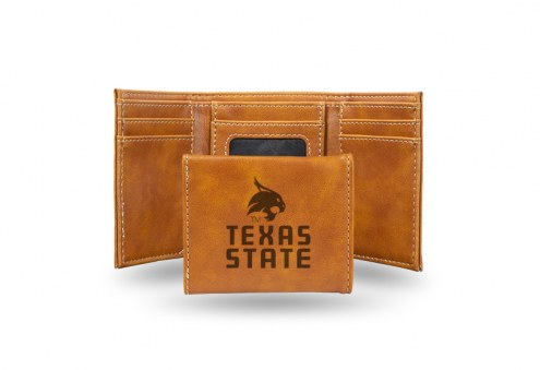 Texas State Bobcats Laser Engraved Brown Trifold Wallet
