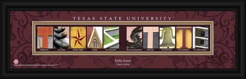 Texas State Bobcats Personalized Campus Letter Art