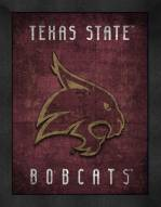 Texas State Bobcats Retro Logo Map Framed Print