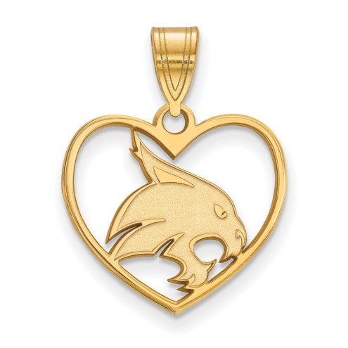 Texas State Bobcats Sterling Silver Gold Plated Heart Pendant