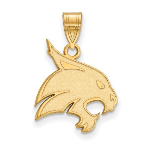 Texas State Bobcats Sterling Silver Gold Plated Large Pendant