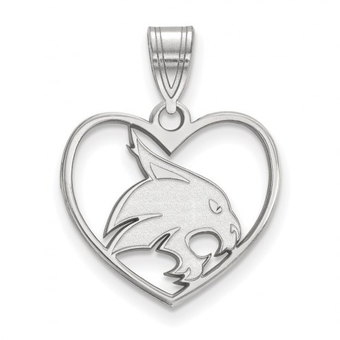 Texas State Bobcats Sterling Silver Heart Pendant