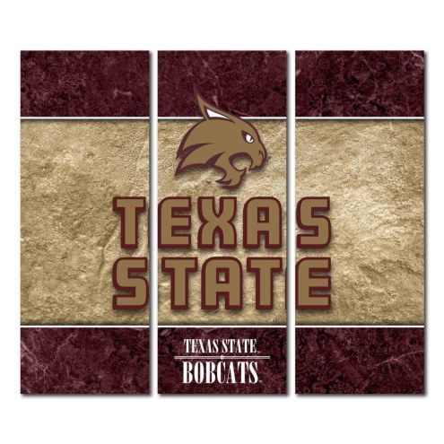 Texas State Bobcats Triptych Double Border Canvas Wall Art