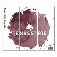 Texas State Bobcats Triptych Watercolor Canvas Wall Art