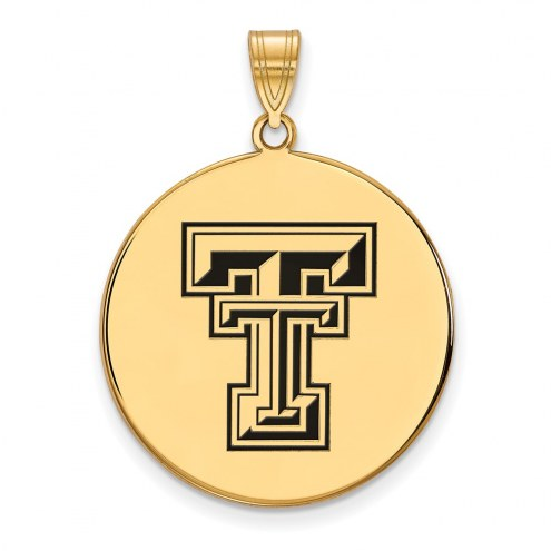 Texas Tech Red Raiders Sterling Silver Gold Plated Extra Large Enameled Disc Pendant
