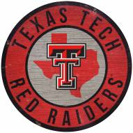 "Texas Tech Red Raiders 12"" Circle with State Sign"
