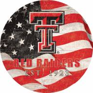 "Texas Tech Red Raiders 12"" Team Color Flag Circle Sign"
