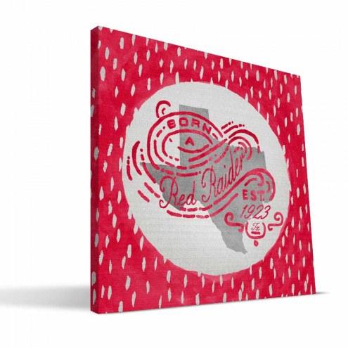 """Texas Tech Red Raiders 12"""" x 12"""" Born a Fan Canvas Print"""