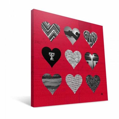 """Texas Tech Red Raiders 12"""" x 12"""" Hearts Canvas Print"""