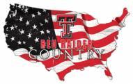 """Texas Tech Red Raiders 15"""" USA Flag Cutout Sign"""