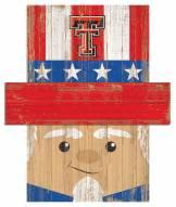 """Texas Tech Red Raiders 19"""" x 16"""" Patriotic Head"""
