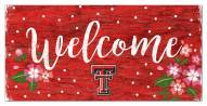"Texas Tech Red Raiders 6"" x 12"" Floral Welcome Sign"