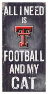 "Texas Tech Red Raiders 6"" x 12"" Football & My Cat Sign"
