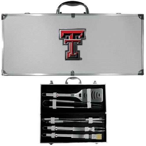 Texas Tech Red Raiders 8 Piece Stainless Steel BBQ Set w/Metal Case