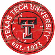 Texas Tech Red Raiders Distressed Round Sign