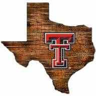 Texas Tech Red Raiders Distressed State with Logo Sign