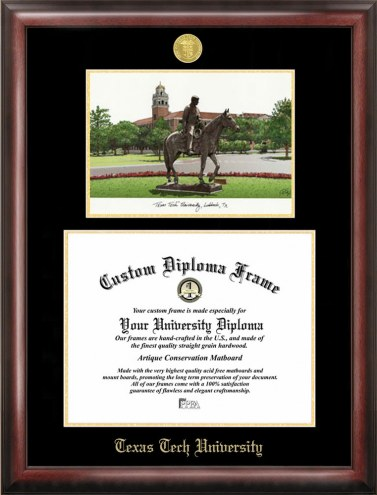 Texas Tech Red Raiders Gold Embossed Diploma Frame with Lithograph