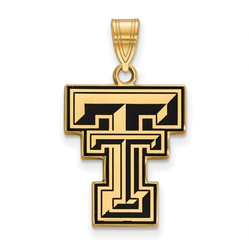 Texas Tech Red Raiders Sterling Silver Gold Plated Large Enameled Pendant