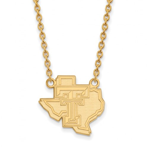 Texas Tech Red Raiders Sterling Silver Gold Plated Large Pendant Necklace