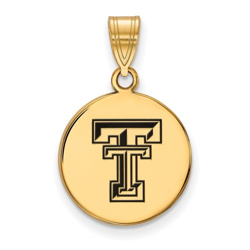 Texas Tech Red Raiders Sterling Silver Gold Plated Medium Enameled Disc Pendant