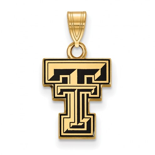 Texas Tech Red Raiders Sterling Silver Gold Plated Small Enameled Pendant