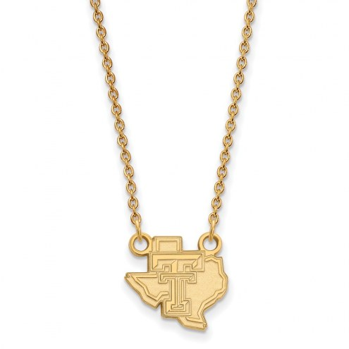 Texas Tech Red Raiders Sterling Silver Gold Plated Small Pendant Necklace