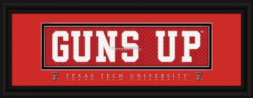 """Texas Tech Red Raiders """"Guns Up"""" Stitched Jersey Framed Print"""