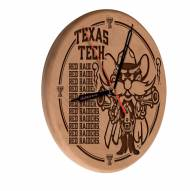Texas Tech Red Raiders Laser Engraved Wood Clock